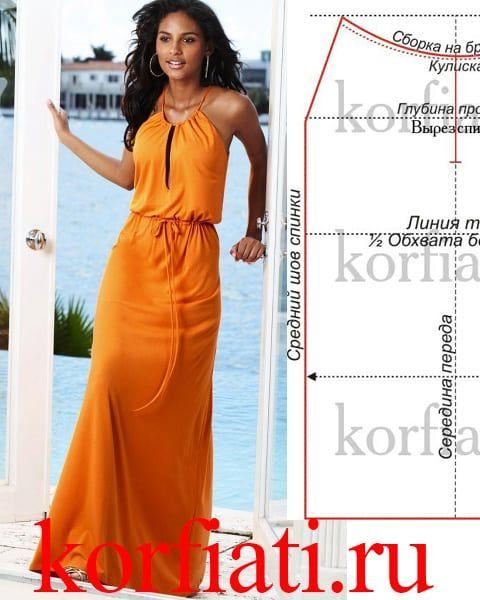 ba95abee2adfa3f Платье в пол - бесплатная выкройка от А.Корфиати   летнее ...