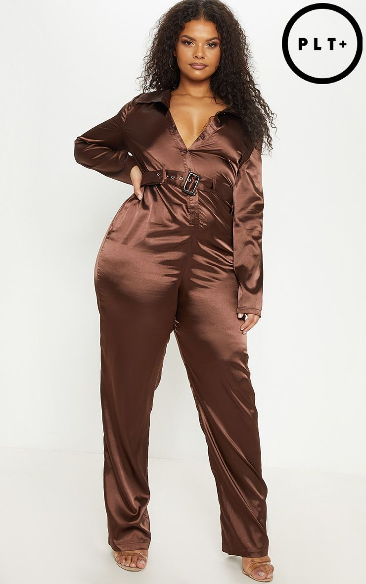 Plus Chocolate Brown Satin Button Front Jumpsuit | Plus size ...