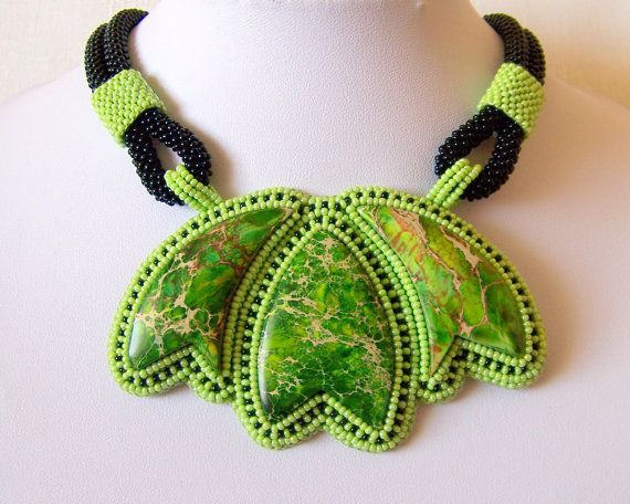 Statement Beadwork Bead Embroidery Pendant Necklace with by lutita, $130.00