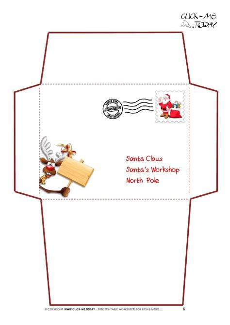 Printable Letter to Santa Claus envelope template -Reindeer Stamp-6 - Santa Envelopes