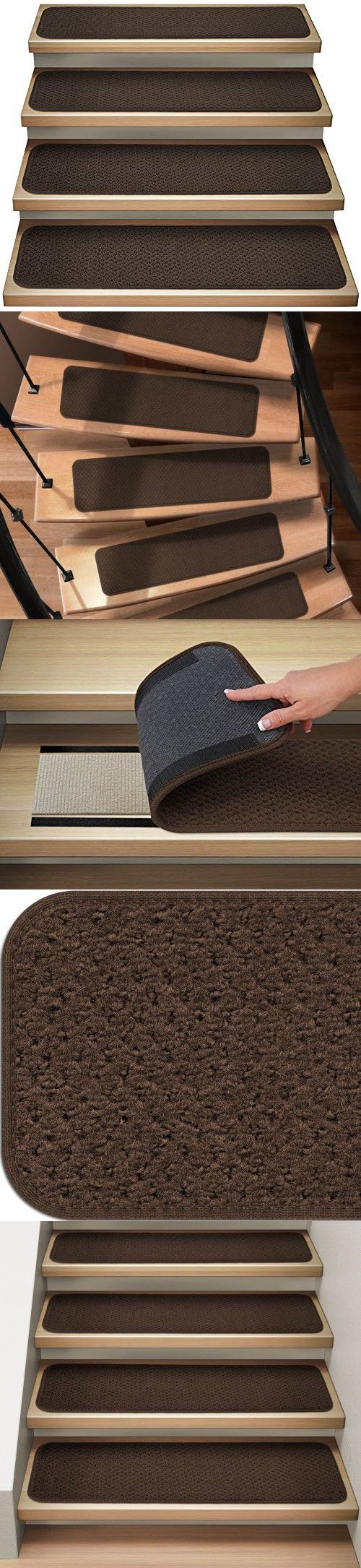 House Home And More Set Of 12 Attachable Indoor Carpet Stair Treads Chocolate Brown 8 In X 23 5 In Several Other Sizes To Choose From Indoor Carpet Carpet Stair Treads Carpet Stairs
