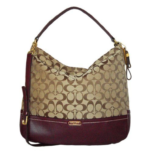 Shoulder bags · Coach 23279 Khaki   Burgundy Park Signature Hobo « Better  product Adds for any home b3b2b89879073