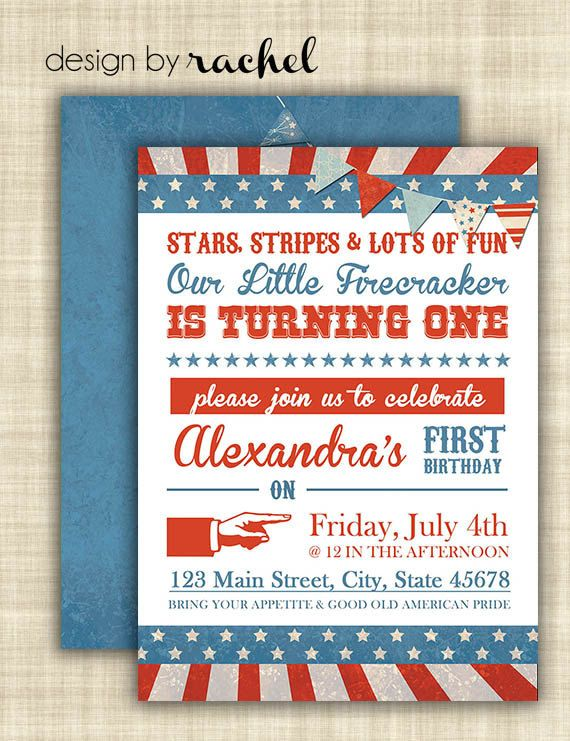 4th Of July First Birthday Invitation