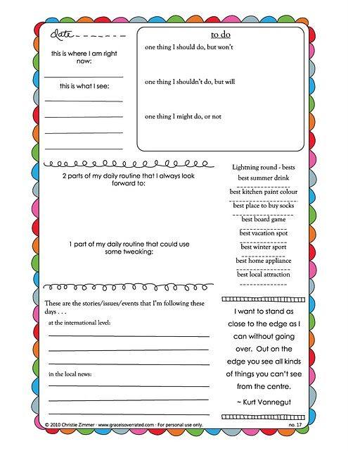 free journal page printables