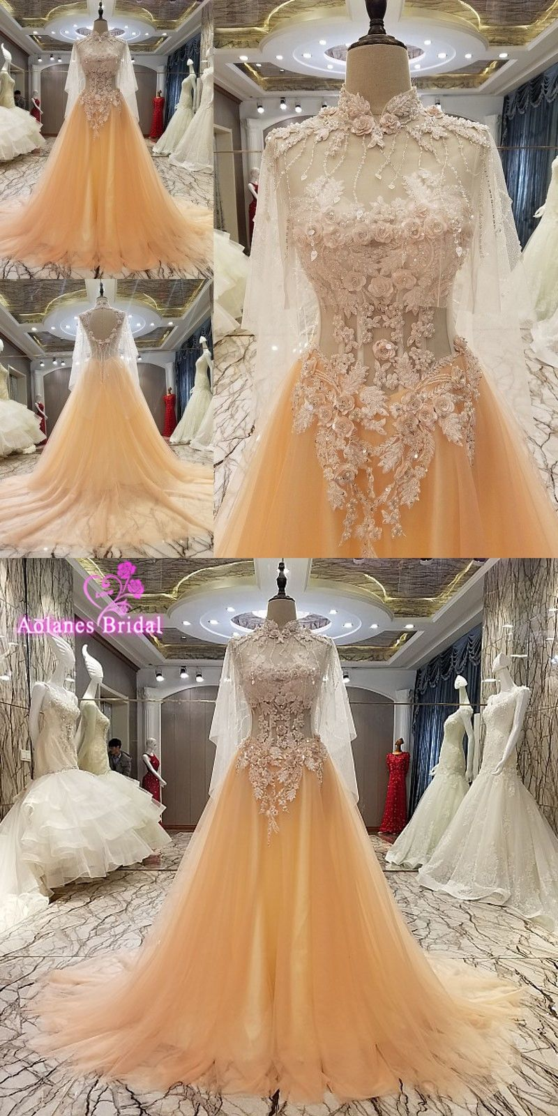 Luxury applique beading ball gown tulle evening dress high neck