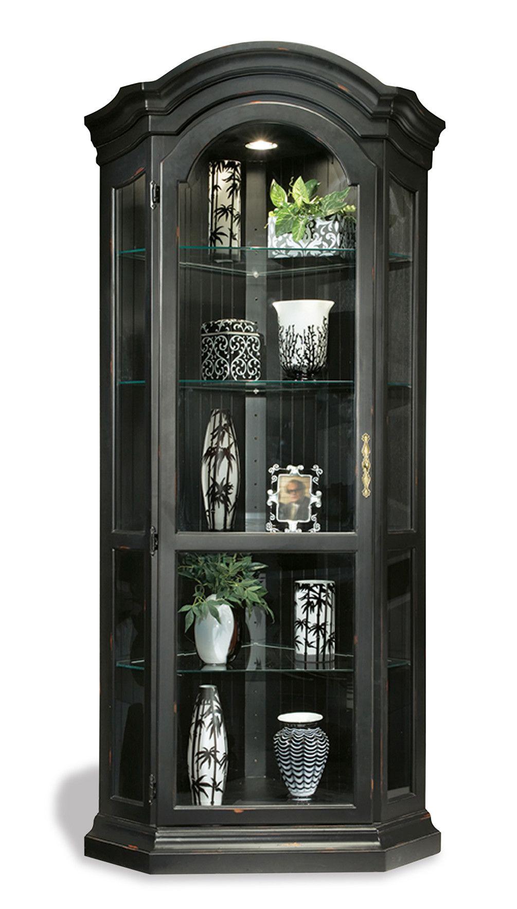 Shelia Solid Poplar Lighted Corner Curio Cabinet | Corner ...