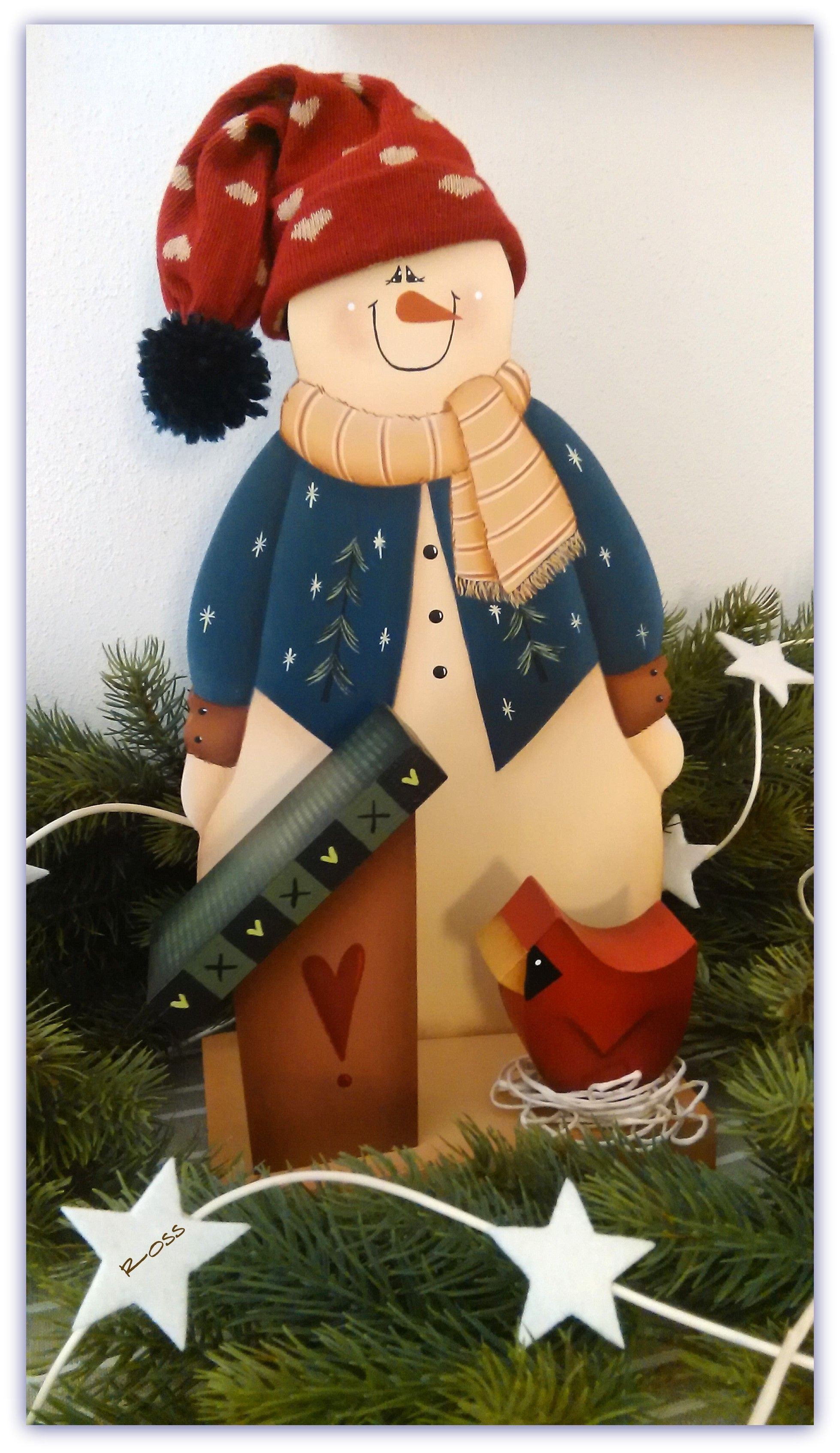 snowman design rene mullins painted by ross - Ross Christmas Decorations