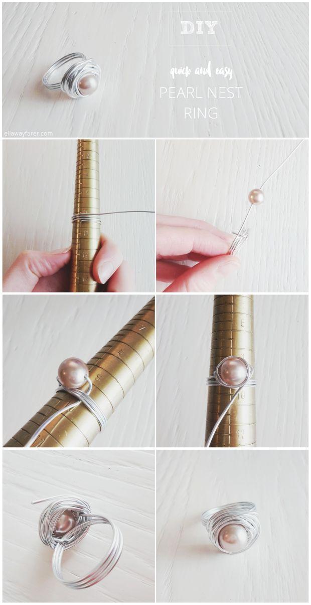 DIY | Ring mit perle, Diy ring und Selber machen