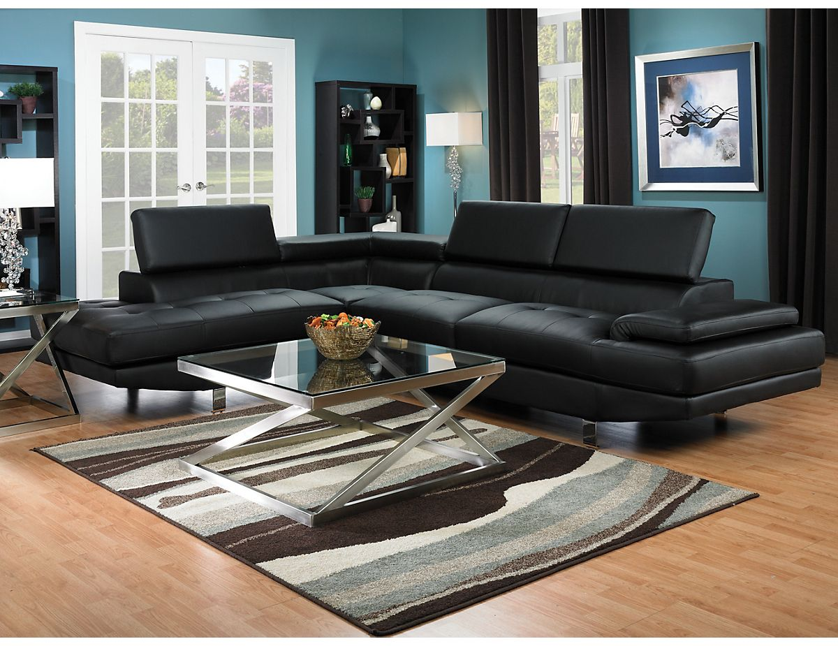 Zane 2 Piece Sectional W Left Facing Chaise Black Zaneblsec The Brick Sectional Sofa Furniture Living Room Sofa