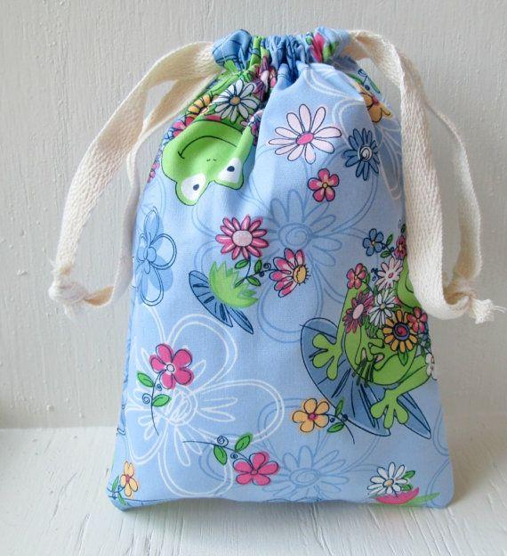 Purple Frog Spring Drawstring Bag Reusable Gift Bag by DivineLuluCreations, $7.00