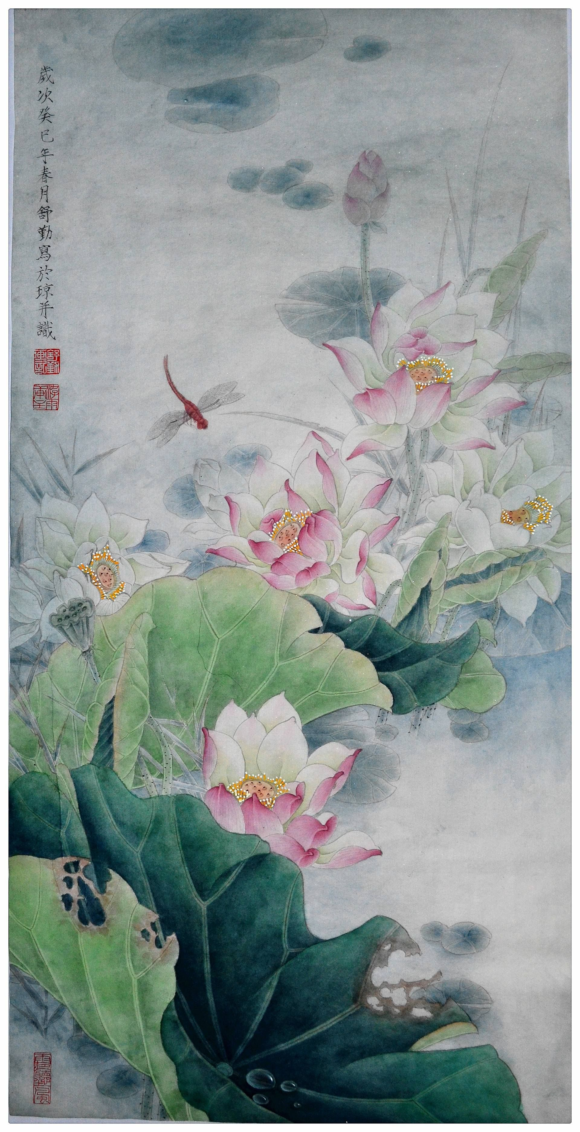 Original chinese gongbi painting lotus flower with moonlight discover thousands of other original paintings prints sculptures and photography from independent artists izmirmasajfo