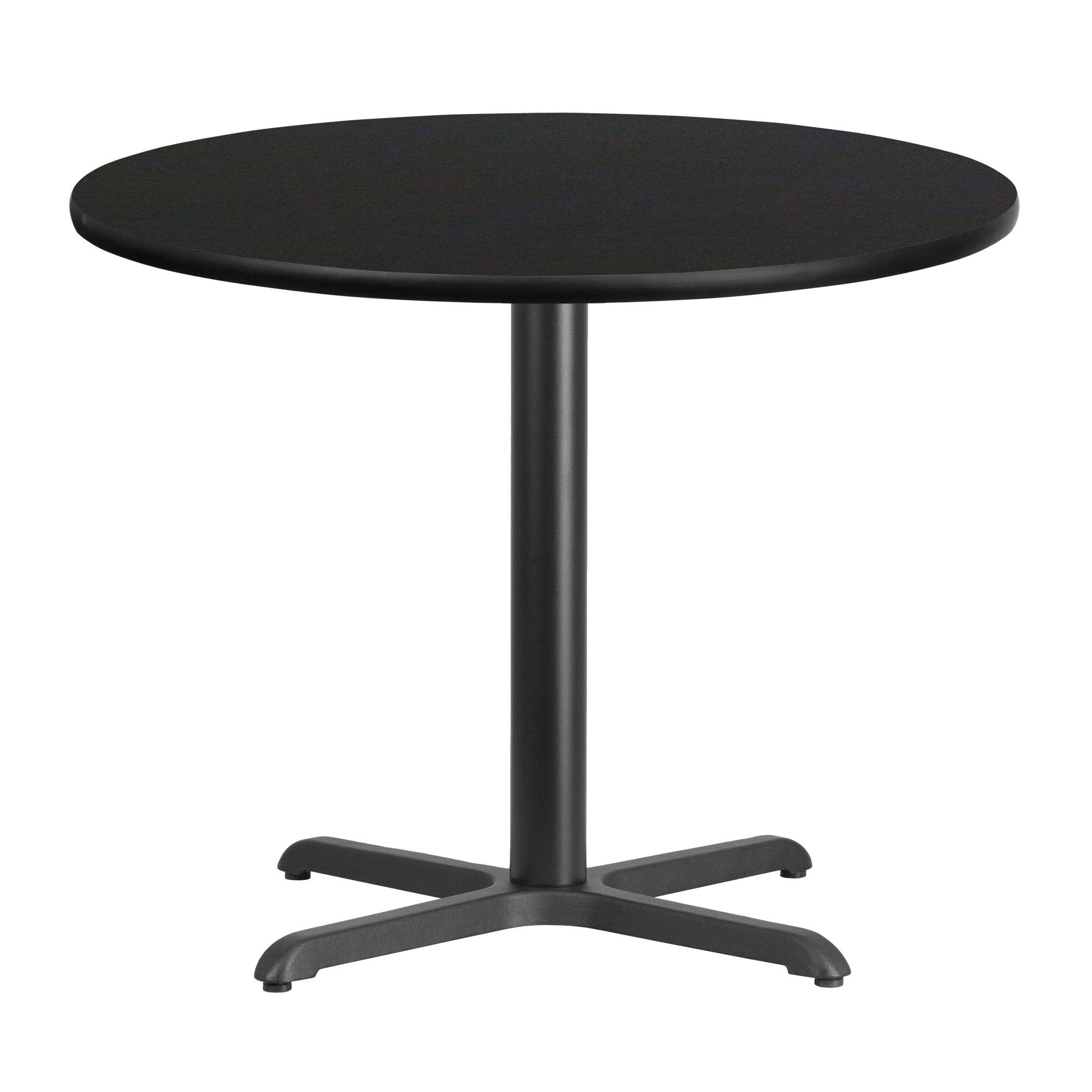 36 Round Black Laminate Table Top With 30 X 30 Table Height