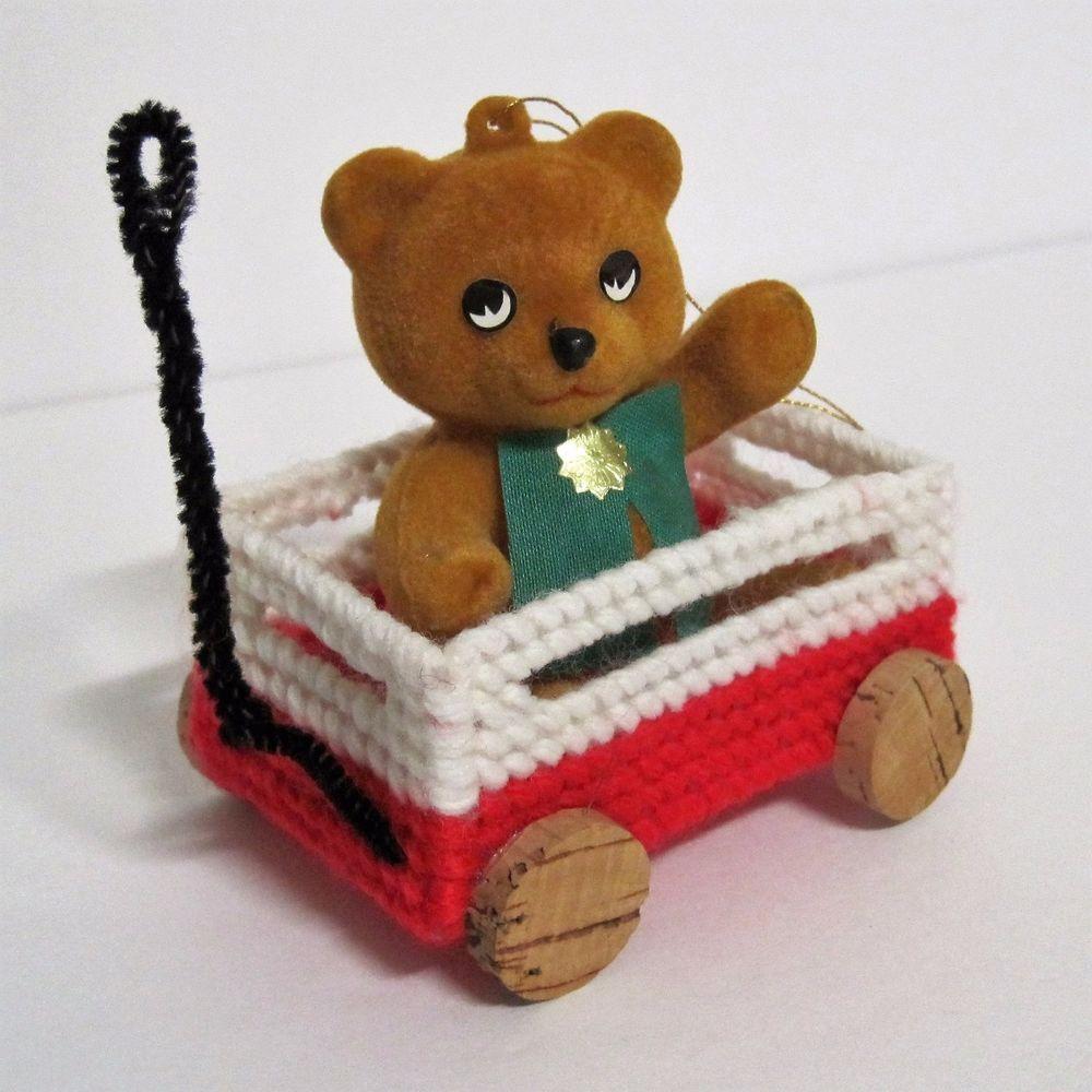 RARE Vtg. Japan FLOCKED TEDDY BEAR IN NEEDLEPOINT WAGON ...