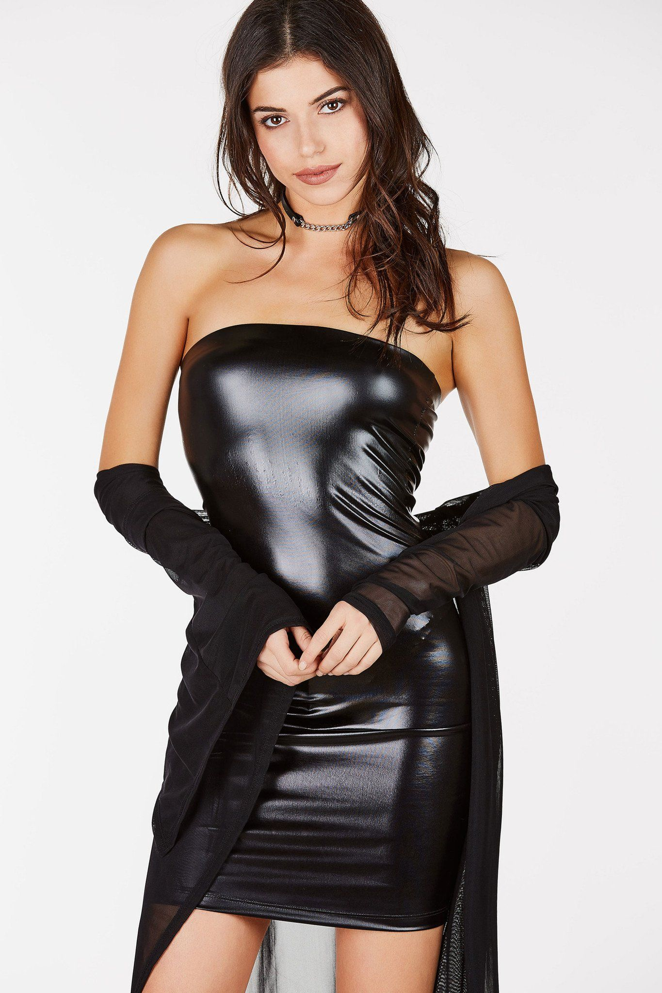 2046b4629b9 Shiny faux leather tube dress. Perfect for a night at the club ...
