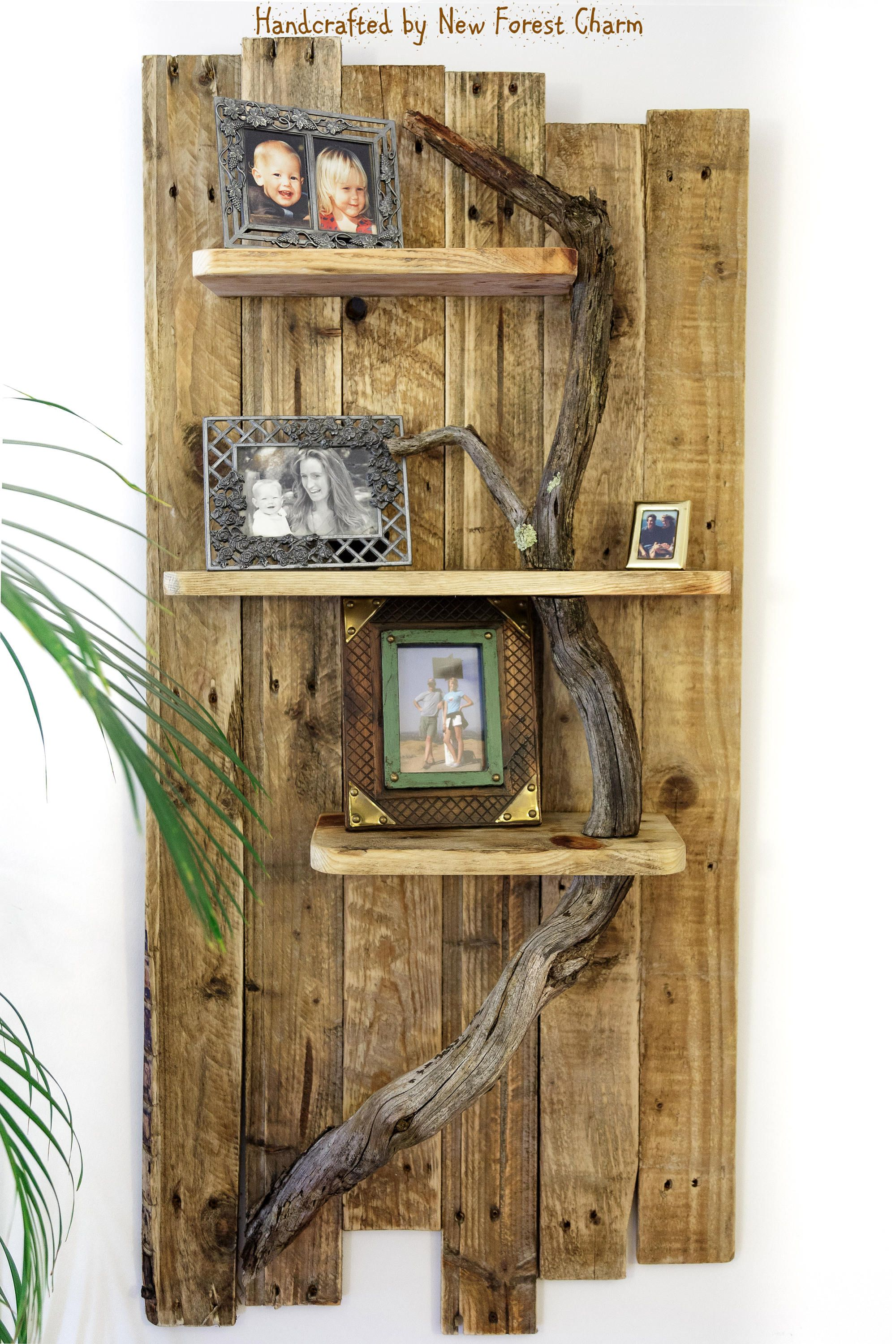 handmade wooden home decor rustic home decor wall art reclaimed pallet shelves wooden home Rustic Wall Shelf Wall Art Reclaimed Retro Pallet Wood Home Decor Shelf Wall  Display Tree Branch by NewForestCharm on Etsy