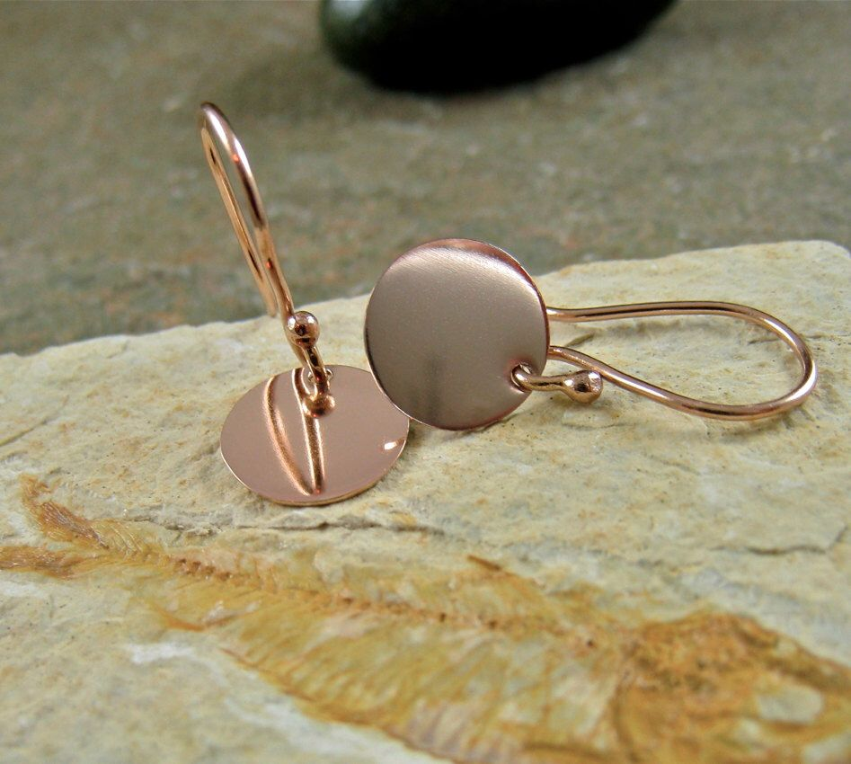Solid 14k Rose Gold Earrings Small Disc 14kt Pink Dangle