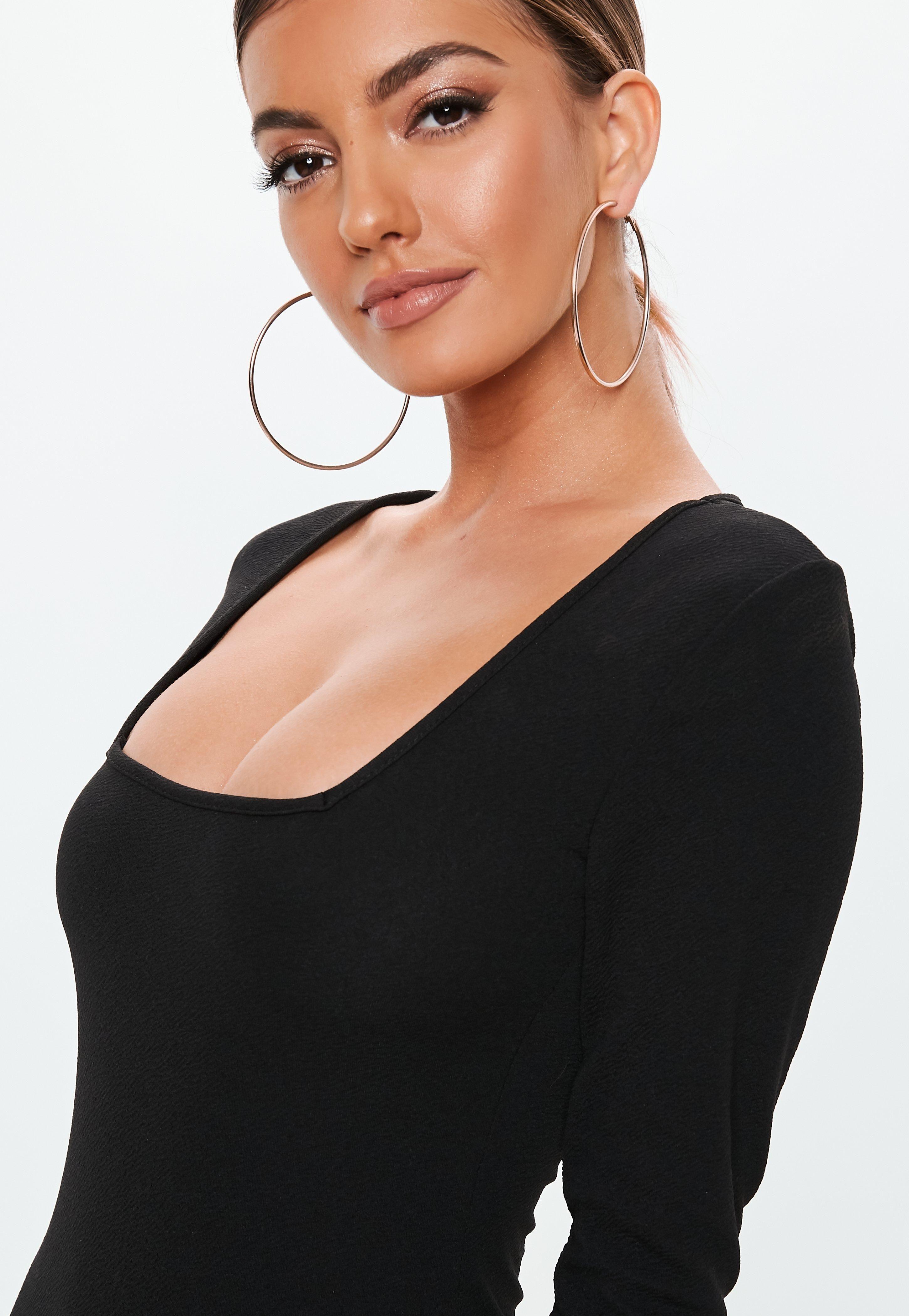69642dd5813 Black Crepe Square Neck Long Sleeve Bodycon Dress  Sponsored  Square