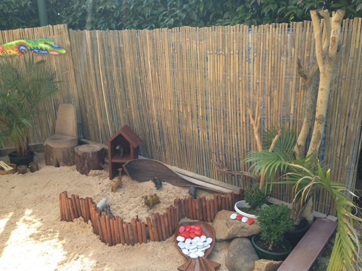 """Sand play with small world & loose parts at Puzzles Family Day Care ("""",)"""