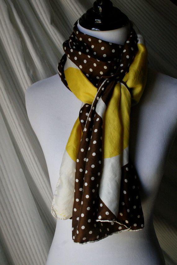 Vintage Silk Polka Dot Oblong Scarf by YaYaRetro on Etsy, $12.00