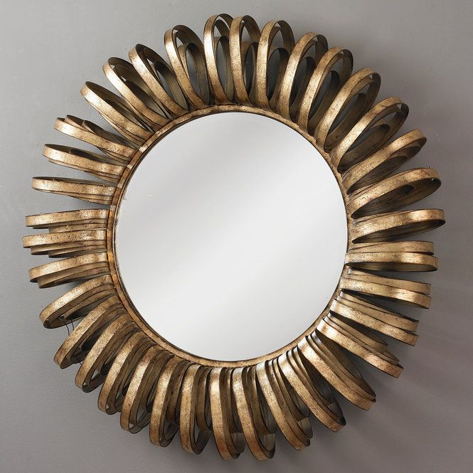 """Ribbons of bronze metal encircle a round, beveled wall mirror. This dynamic mirror will add a sense of chic to your walls.(35""""Hx35""""W)"""