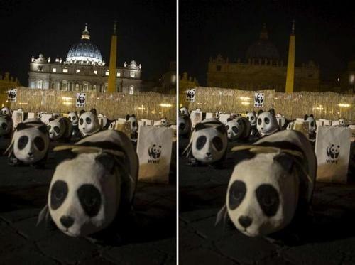 Marzo 2016: ancora una volta San Pietro a luci spente. Per non parlare dei panda!
