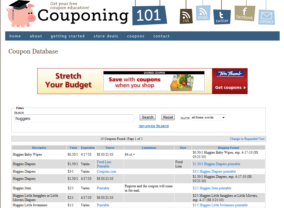 NEW Couponing101.com Coupon Database | Couponing 101