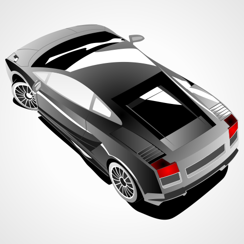 Lamborghini Gallardo top view. Free vector illustration