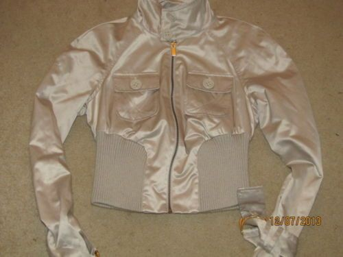 BEBE Champagne Beige Silky Jacket Ribbed Waist Trench Coat Sleeves AMAZING S
