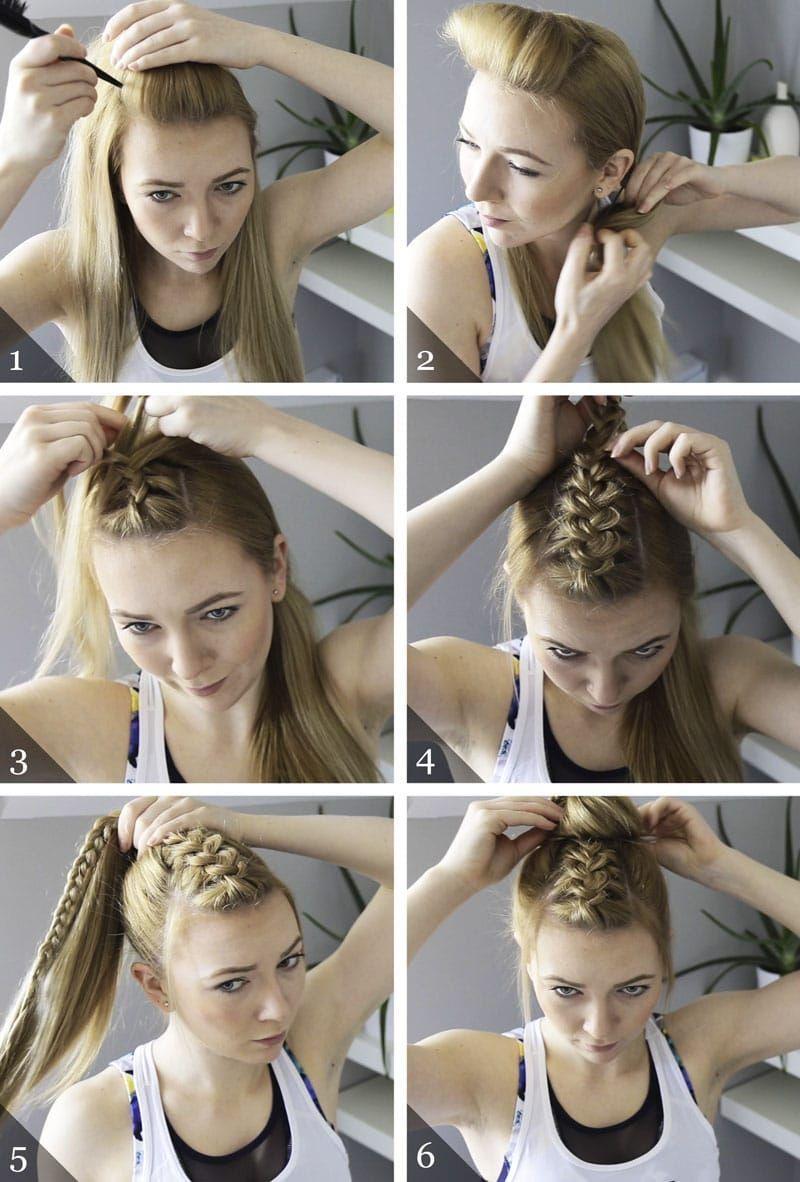 Dutch Braid Topknot Hairstyle In 2020 Braided Hairstyles Braided Hairstyles Easy Volleyball Hairstyles