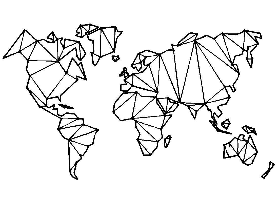 Melissalove Map Of The World Vinyl Wall Decal Home Decor Living Room Geometric Removab Adesivos De Parede Quarto Decalques De Parede De Vinil Mapa Mundo Parede