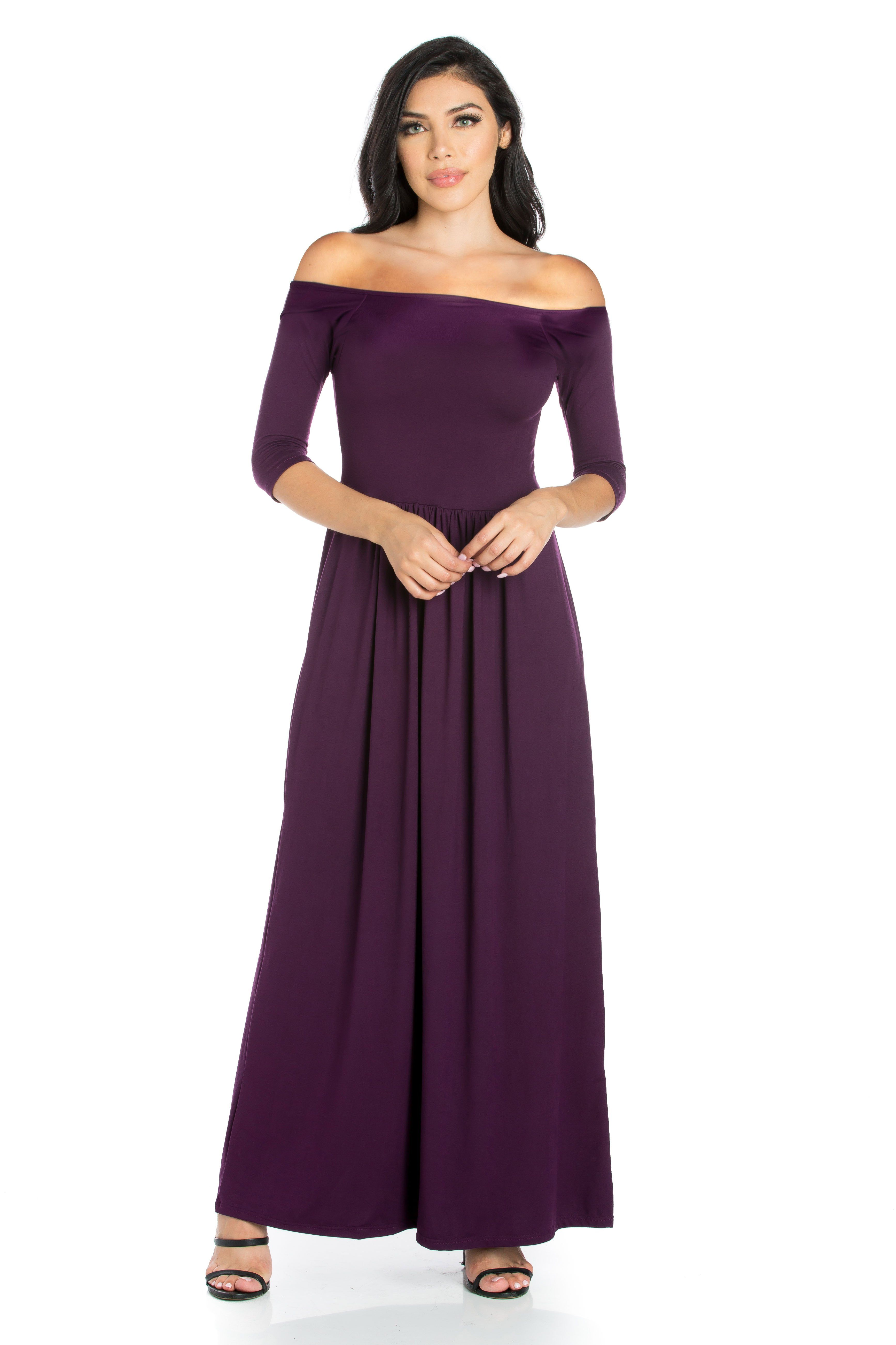 74666418a77 ... Dresses by 247 Comfort Apparel. Off The Shoulder Maxi Dress For Women  Off The Shoulder Maxi Dress The beautiful style features
