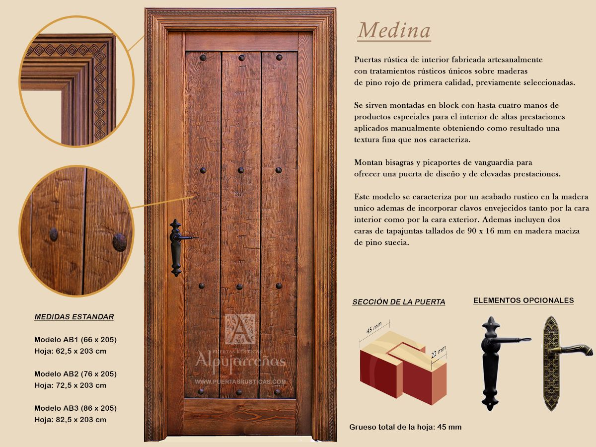 Puertas de interior gama medina puertas r sticas for Modelos de bisagras