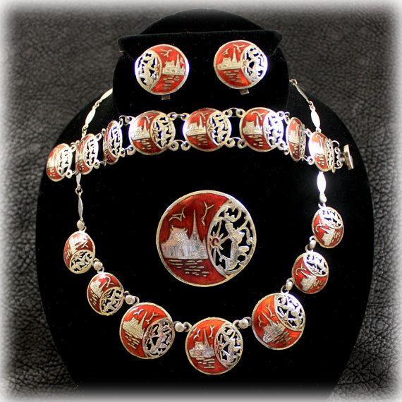 bracelet earring sterling silver Set parure ethnic necklace