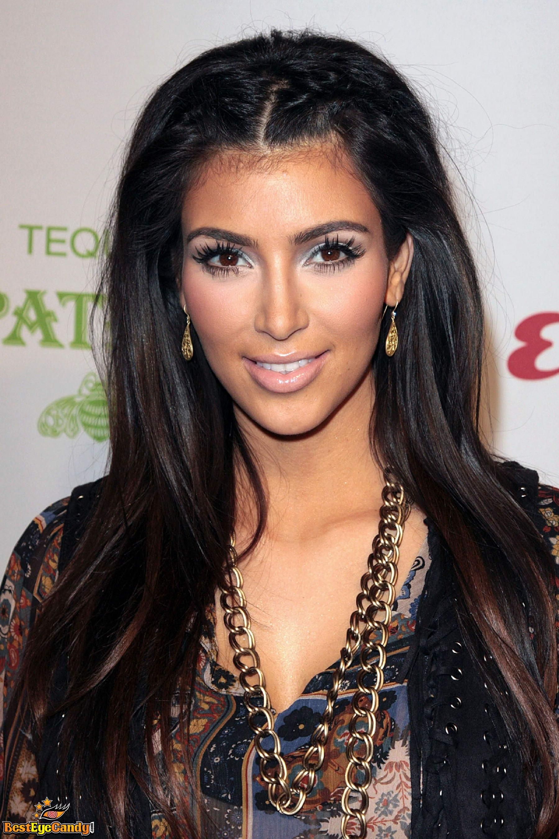Kim Kardashian Hair black up top with