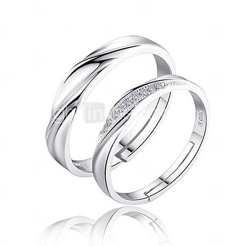 homme femme couple de bagues anneaux amour mari e argent sterling zircon forme de cercle bijoux. Black Bedroom Furniture Sets. Home Design Ideas