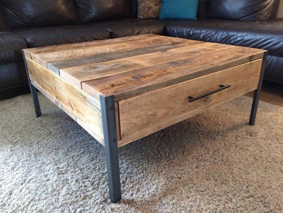 Wood and metal coffee table by Reclaimtofame1 on Etsy