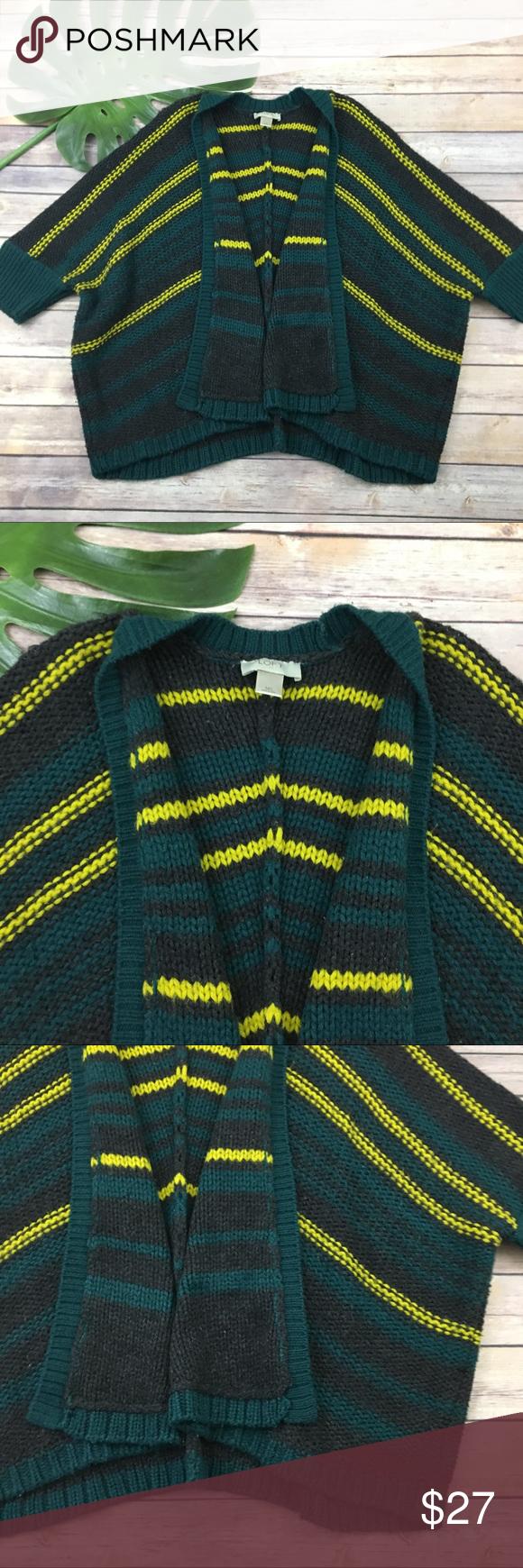 Loft green & yellow chunky knit shrug sweater | Shrug sweater ...