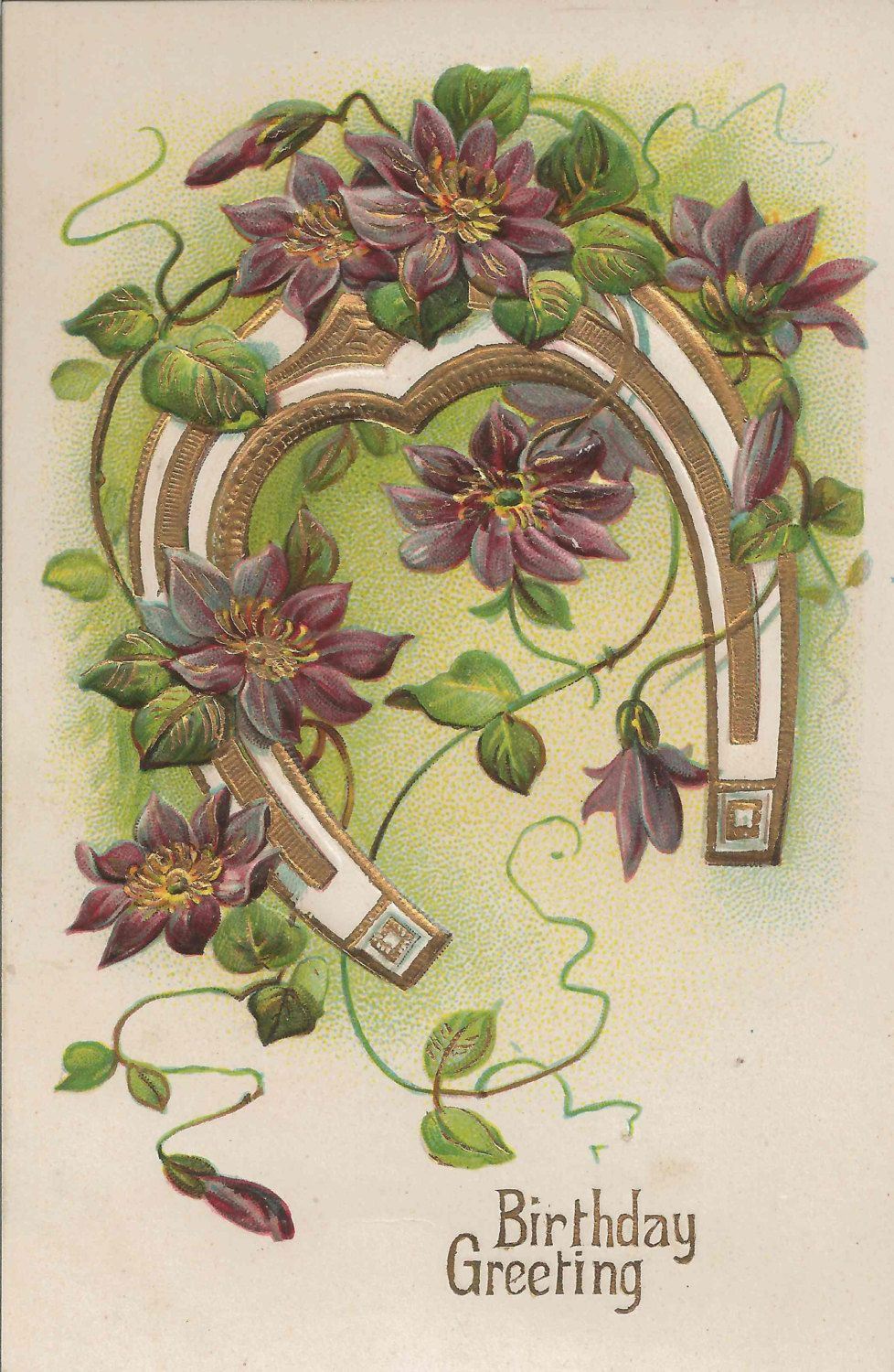 Antique Early 1900 Birthday Greeting Postcard Featuring Good Luck
