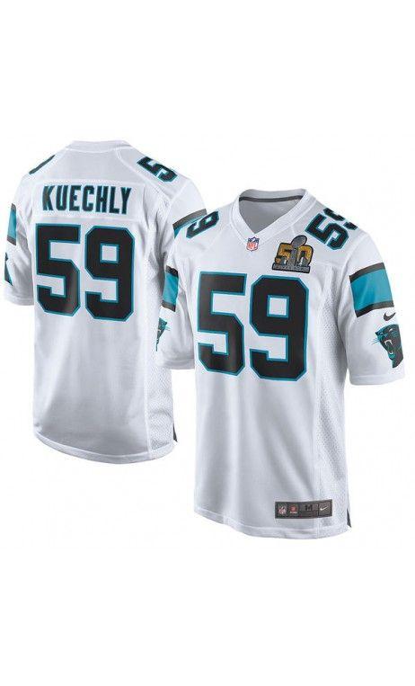 0376c0a04 NFL Men s Carolina Panthers Luke Kuechly Nike White Super Bowl 50 Bound Game  Event Jersey  SB50  football