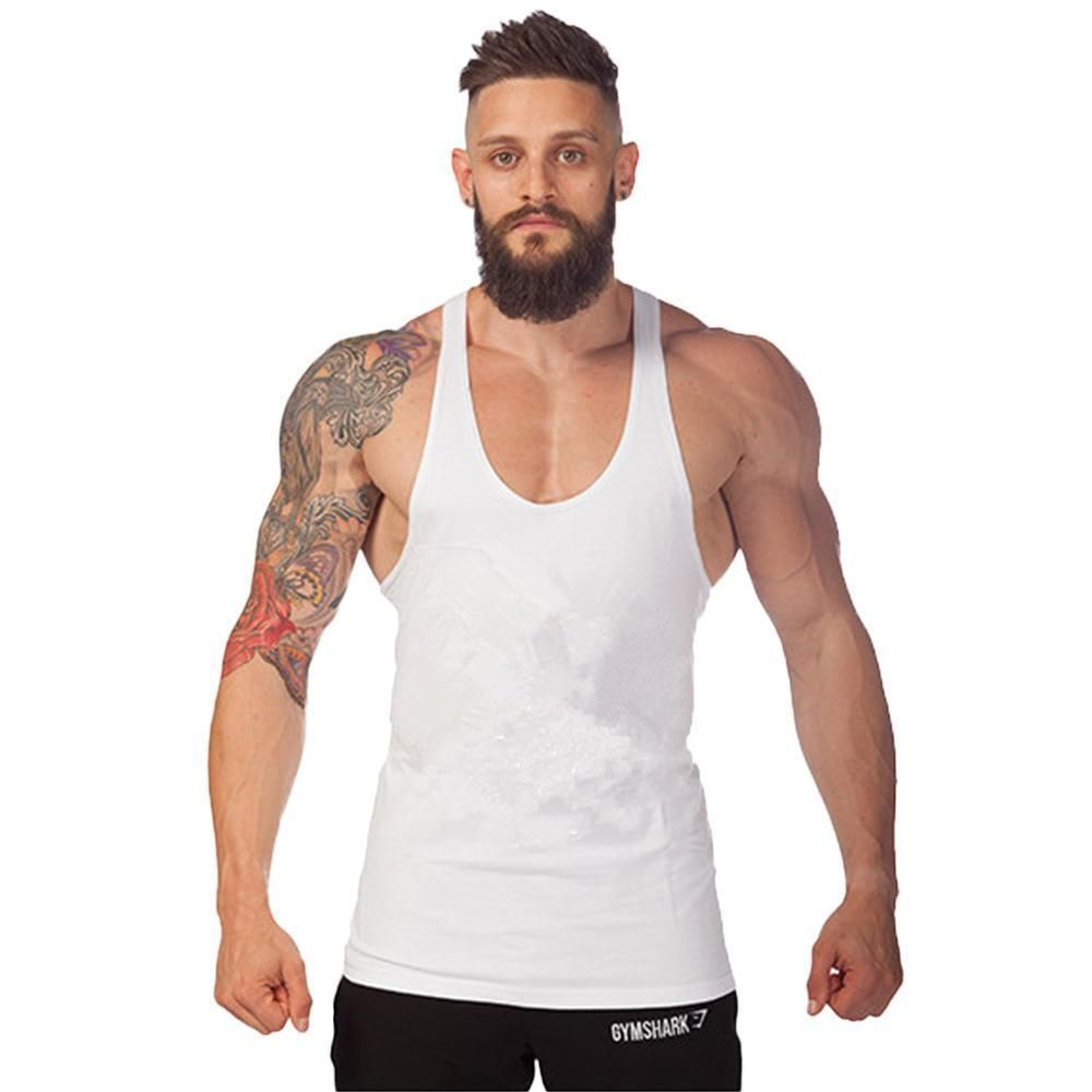 80d1c7f36e9cdc Mens Muscle Racer Back Sleeveless Athletic Gym Vest Plain Tank Top T-Shirt  Basic