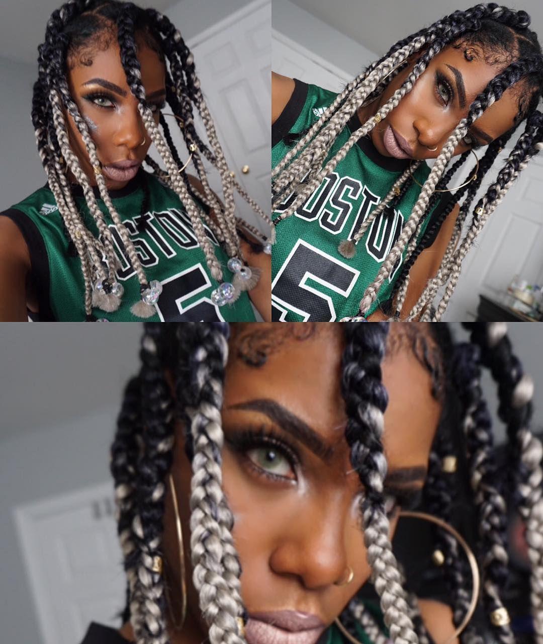 Early 2000 S Da Brat Rihanna Inspired Dookie Braids Tutorial Beige Ojai Jumbo Box Braids Styles Jumbo Box Braids Box Braids Hairstyles
