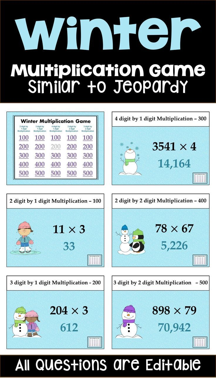 Winter Multiplication Game - Similar to Jeopardy | Pinterest ...