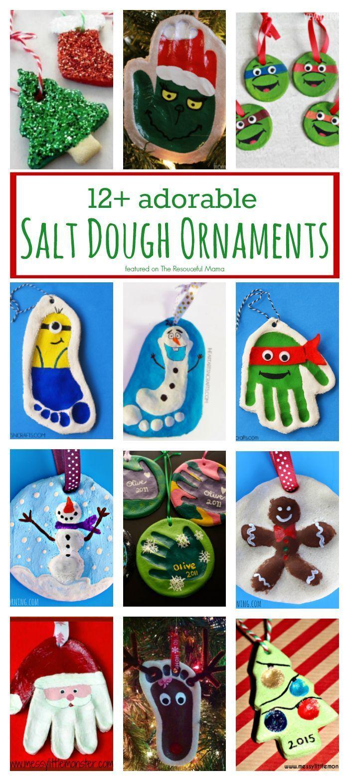 12 Adorable Salt Dough Ornaments Kids Christmas Ornaments Kids Ornaments Handprint Ornaments