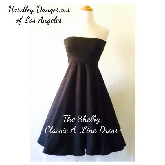 The Shelby Dress, Mod 60s Style Empire Waist Aline Semi Formal Strapless Rockabilly Dress, 1960s Inspired Size Small Ready to Ship