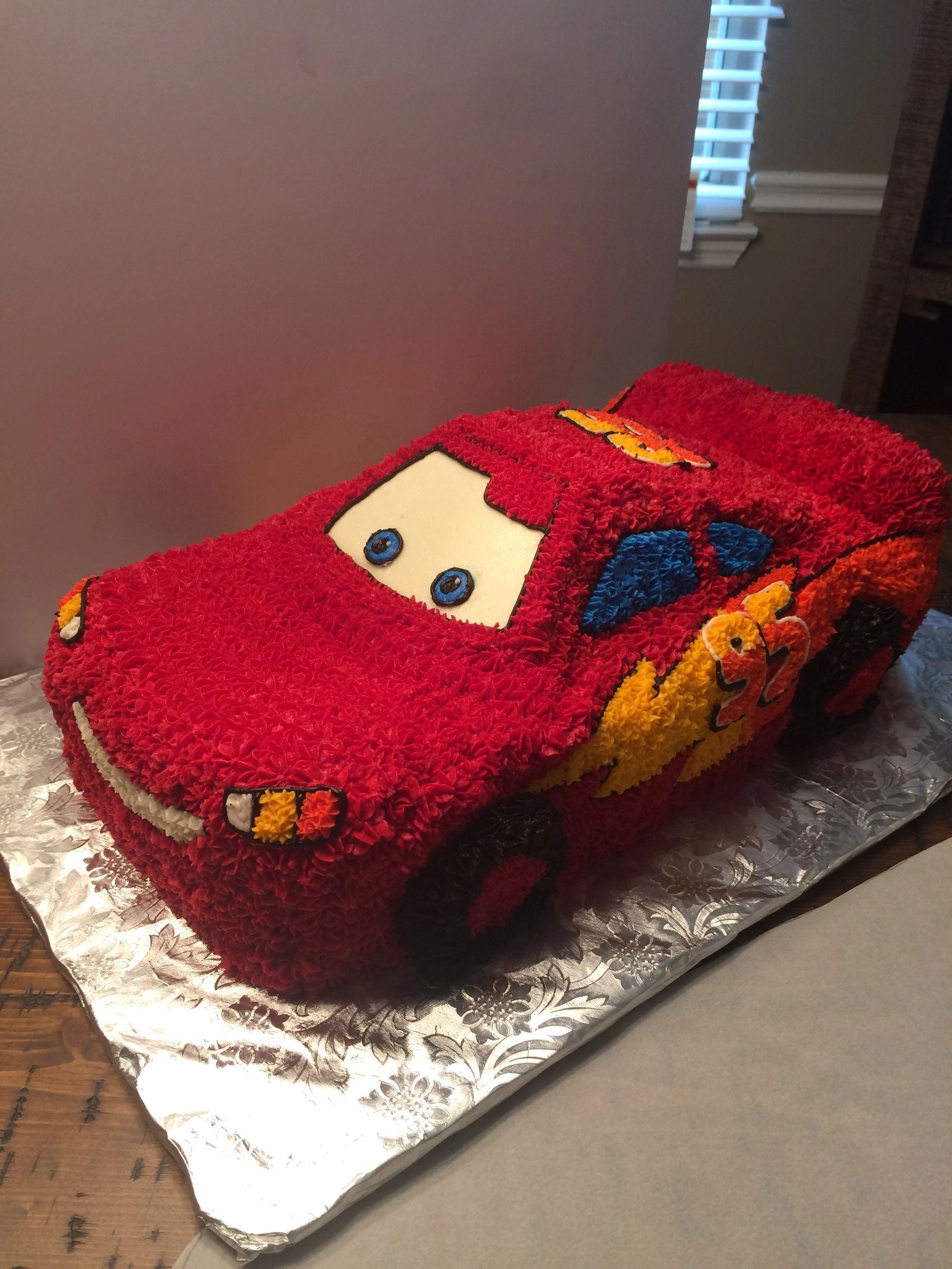 Cars Lighting Mcqueen Buttercream 3d Cake Cars Birthday Cake