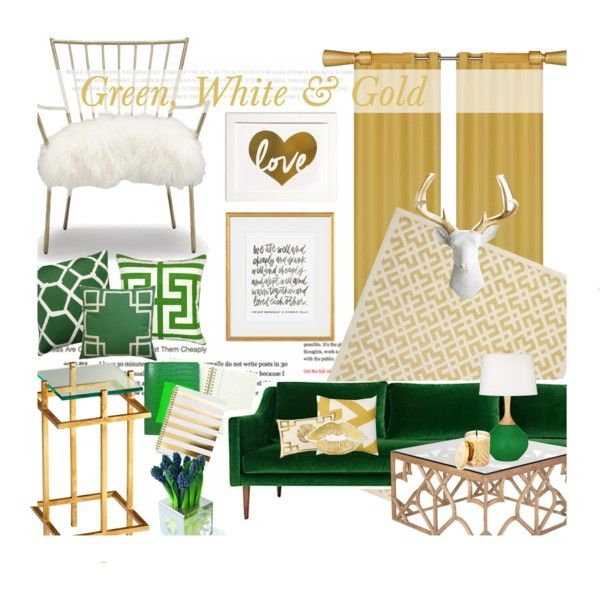 Green, White & Gold by bamaannie on Polyvore featuring interior, interiors, interior design, home, home decor, interior decorating, Mitchell Gold + Bob Williams, OKA, Safavieh and Hemingway