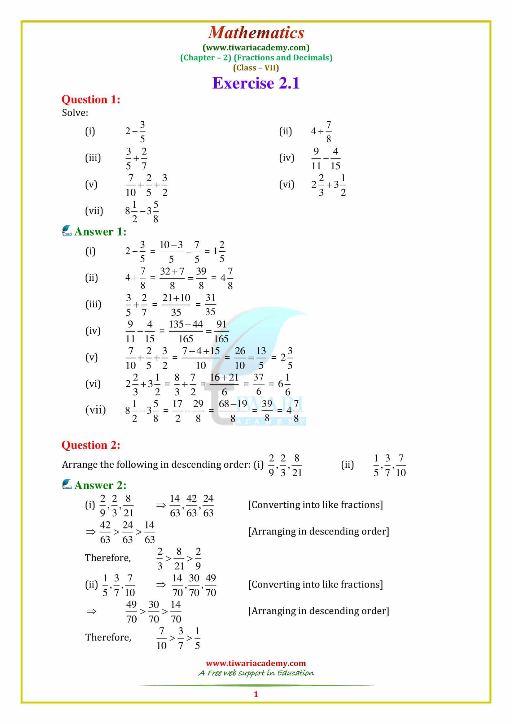 Ncert Solutions For Class 7 Maths Chapter 2 Fractions And Decimals Maths Ncert Solutions Math Math Worksheet [ 2339 x 1653 Pixel ]