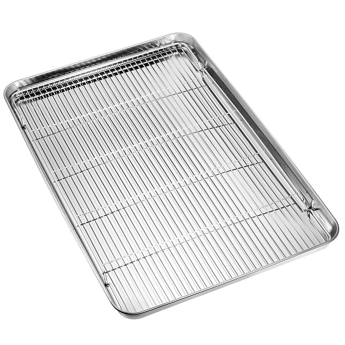 Hkj Chef Large Set Cookie Sheet And Nonstick Cooling Rack And Stainless Steel Baking Toaster Oven Tray Pan Rectangle Size Set Cookie Toaster Oven Cooling Racks