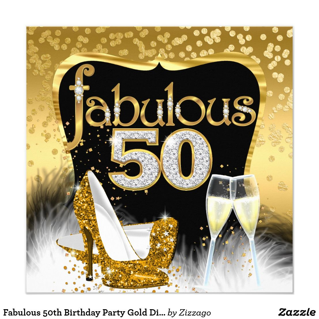 Silhouette Fifty Fab Woman: Fabulous 50th Birthday Party Gold Diamond Glitter