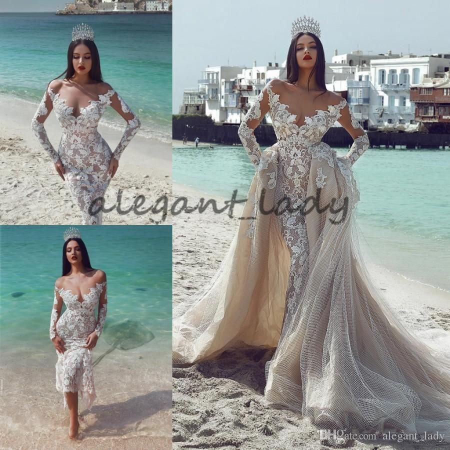 Lace mermaid wedding gowns with long trains  Gorgeous Mermaid Lace Wedding Dresses With Detachable Train Sheer